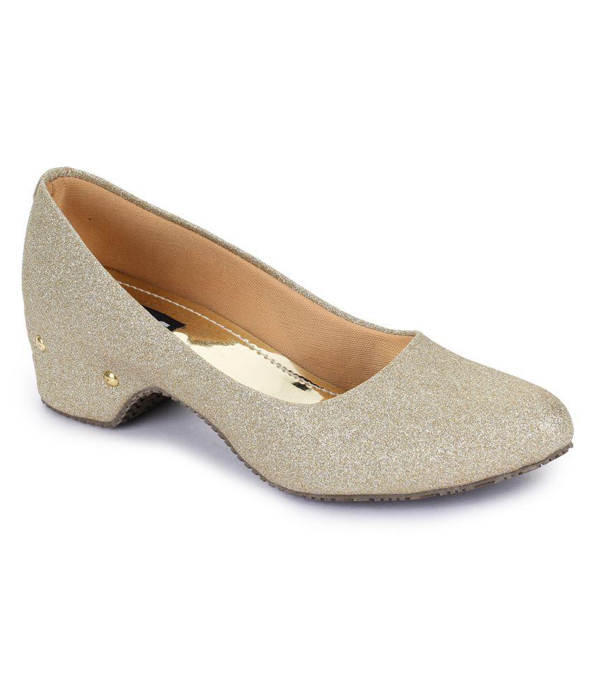 Sapatos Gold Block Heels