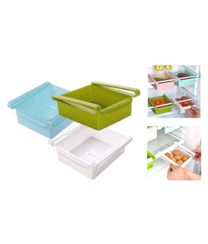 lONIK 3 Pcs Fridge container Storage Unbreakable Drawer Multicolor 3 Pcs