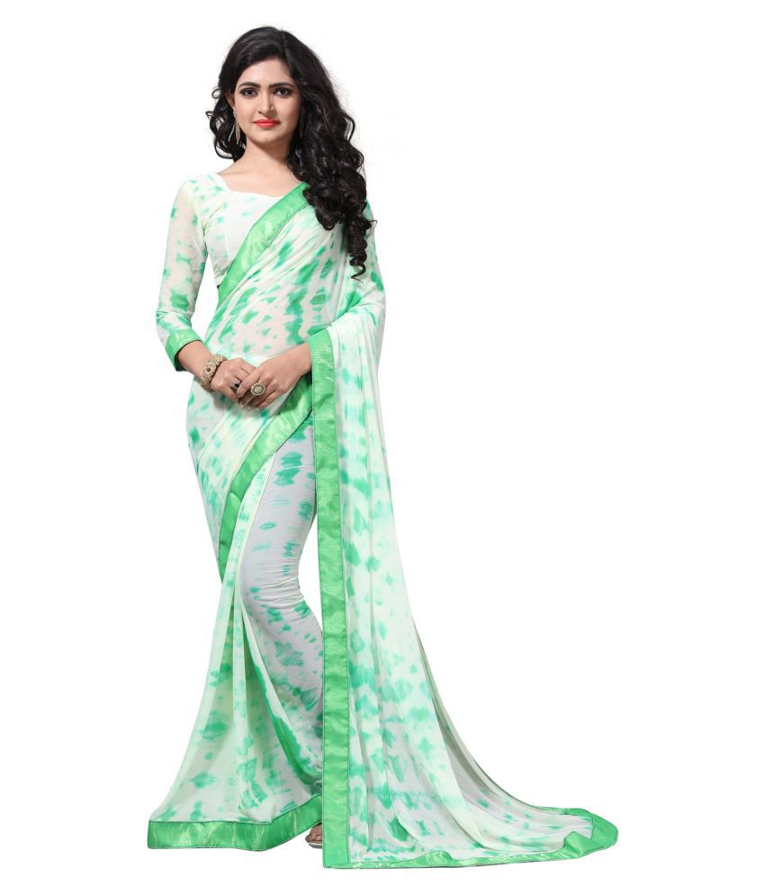 W Ethnic Green Chiffon Saree
