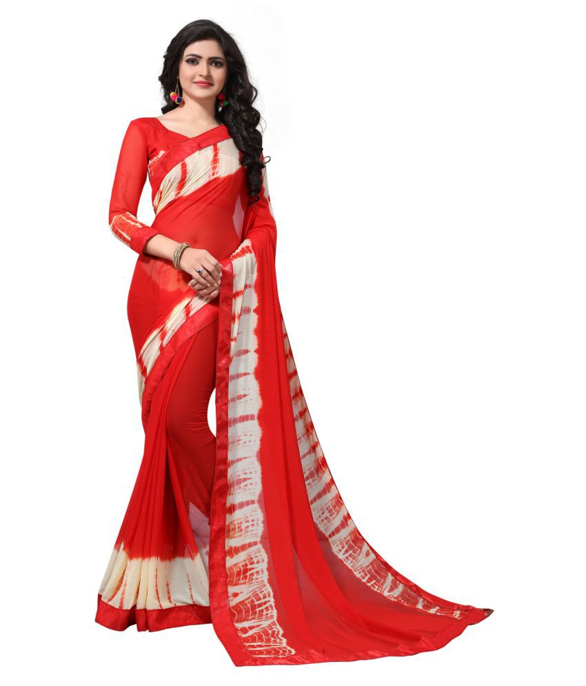 W Ethnic Red Chiffon Saree