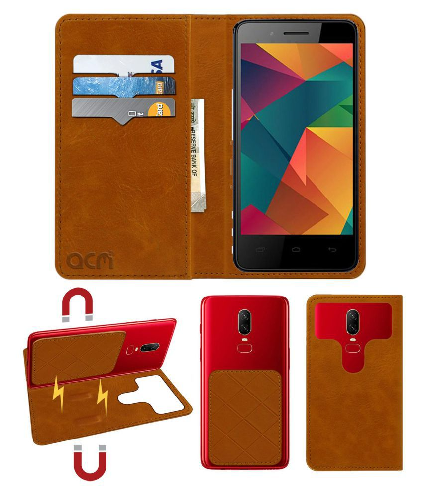 Micromax Bharat 2 Ultra Flip Cover by ACM - Golden 2 in 1 Detachable Case,Attachable Flip With Magnet