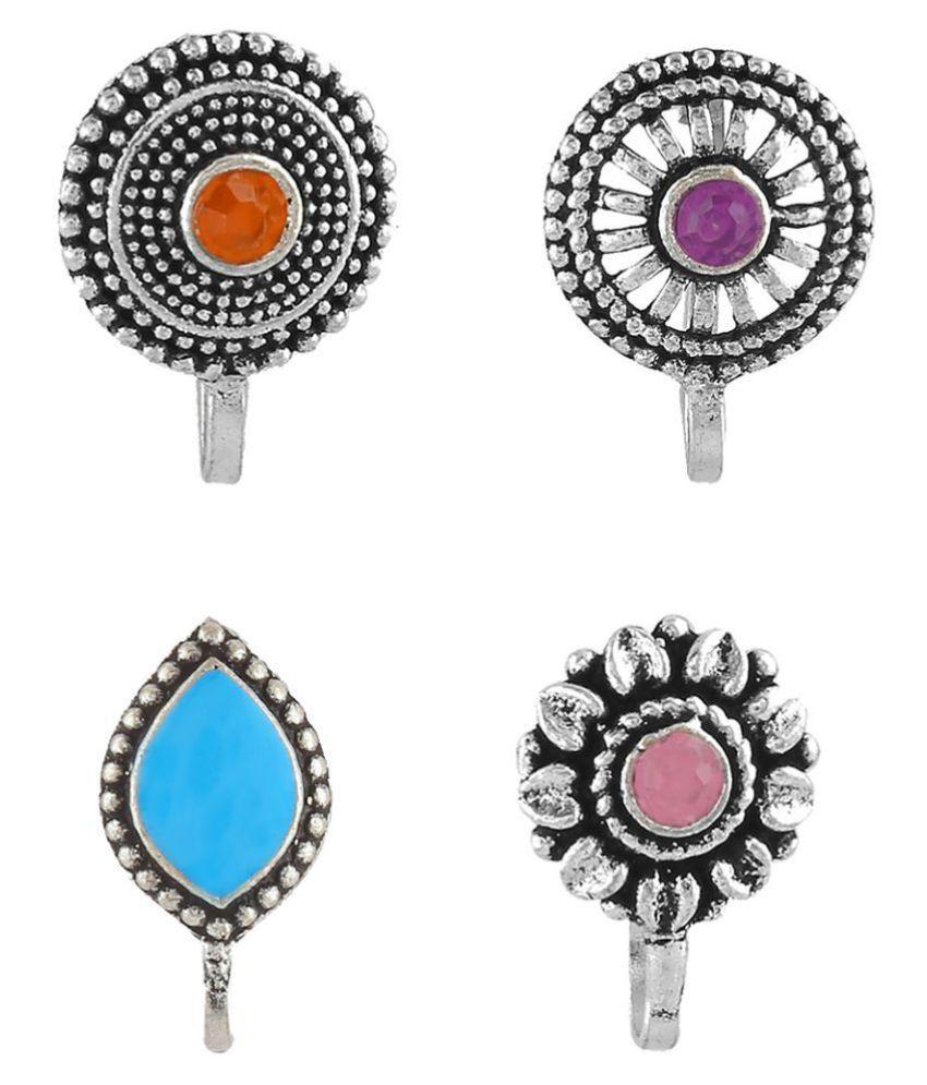 Anuradha Art Oxidized Finish Wonderful Silver Tone Designer Nose Pin Press on Nose Ring For Women/Girls