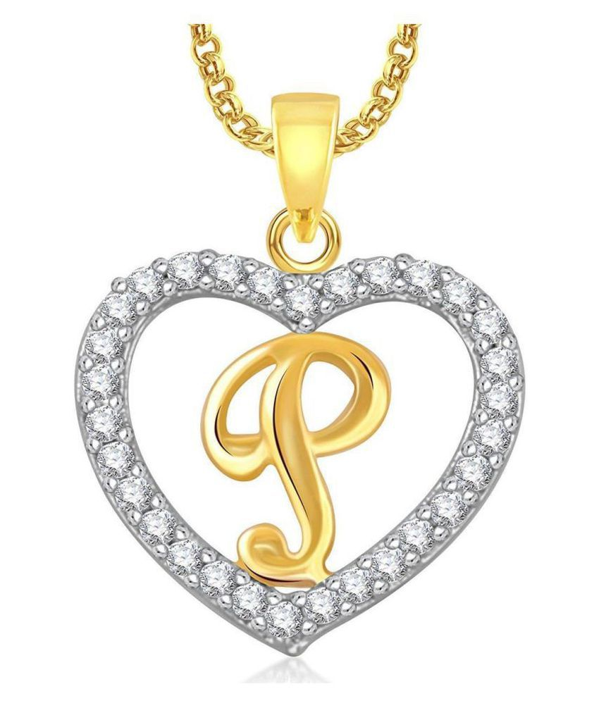 ad1778cce54 Dazzling Gold Plated Alphabet 'P' Letter Heart Pendant Locket With Chain  For Men And Women/Boys & Girls : Buy Dazzling Gold Plated Alphabet 'P'  Letter Heart ...