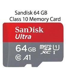 SanDisk 64GB Class 10 microSDXC Memory Card with Adapter (SDSQUAR-064G-GN6MA) 64 GB Class 10 Memory Card