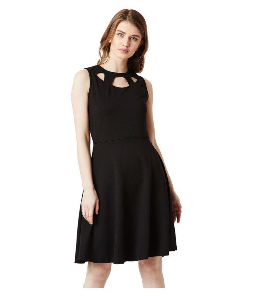 Miss Chase Polyester Black Skater Dress