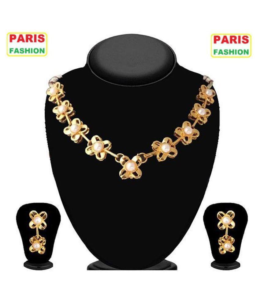 5e94bfa297a Paris Fashion Alloy Golden Statement Designer Gold Plated Necklaces Set ...