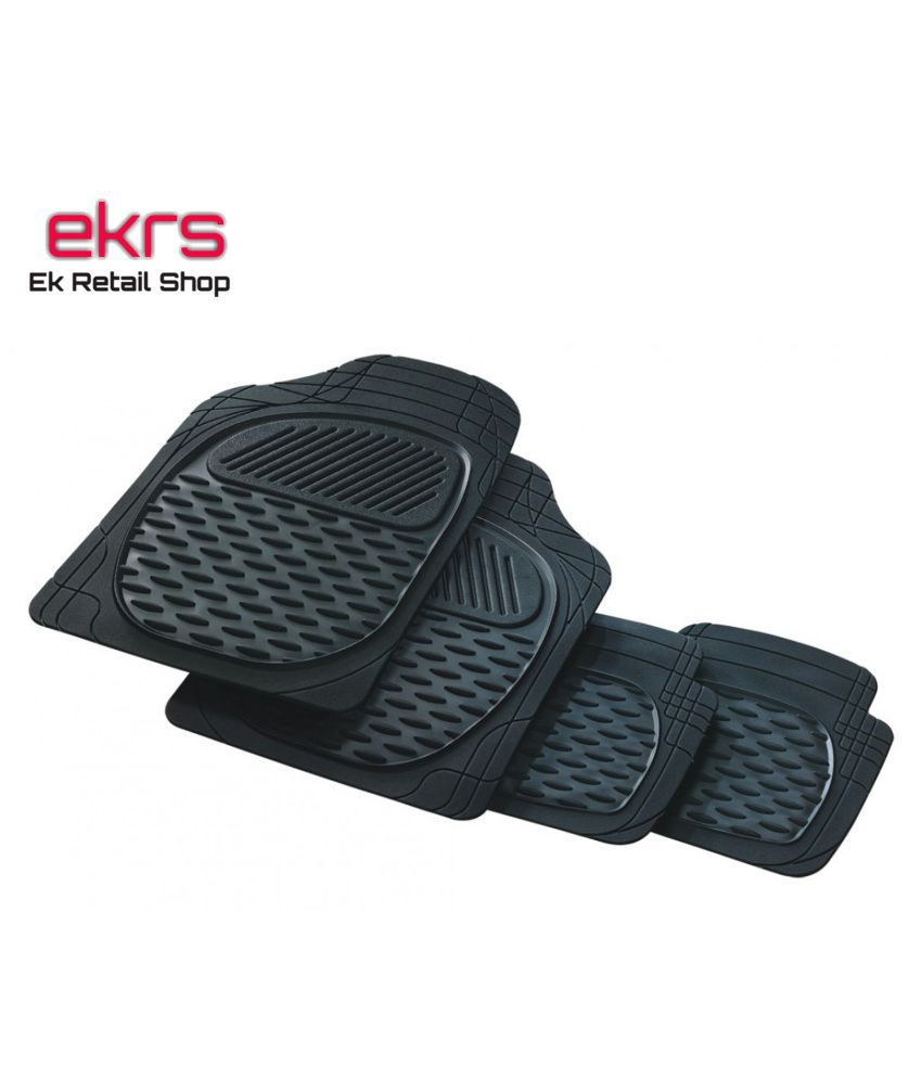 Ek Retail Shop Car Floor Mats (Black) Set of 4 for HyundaiVerna1.6VTVTS