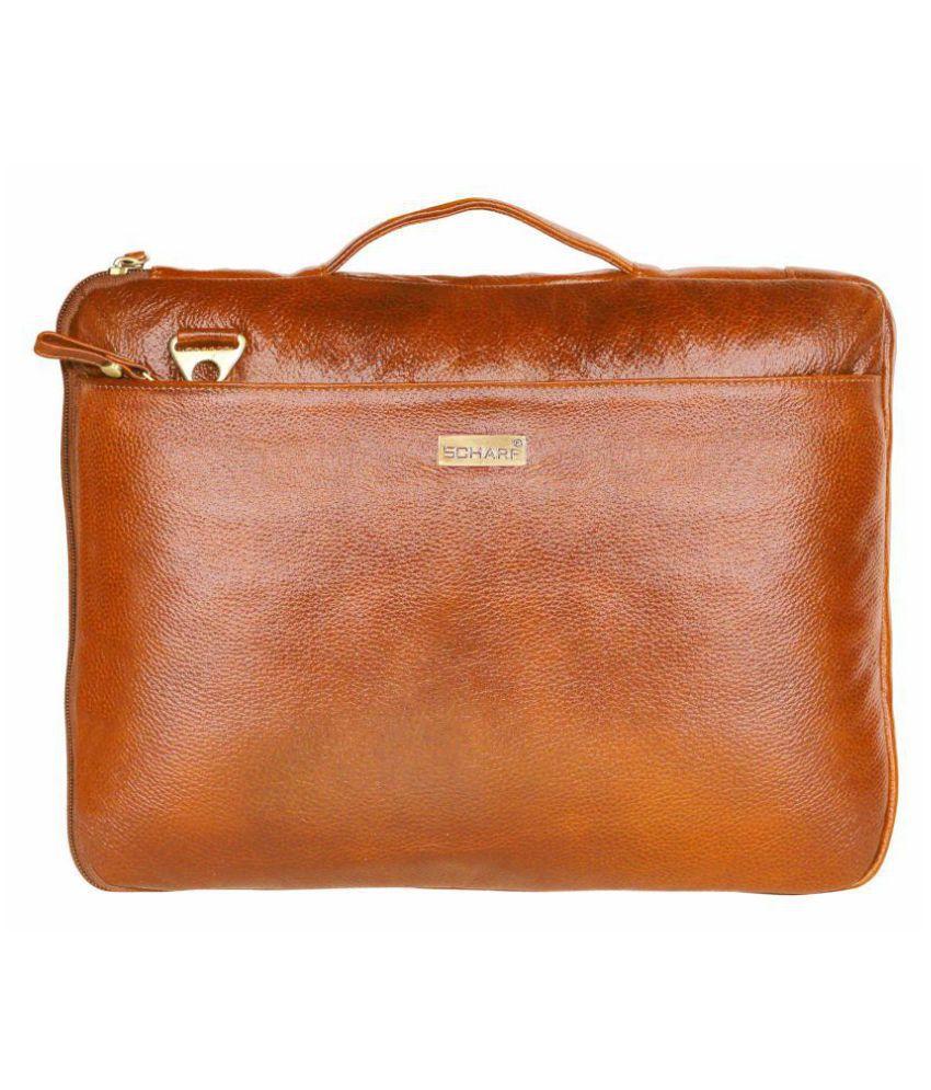 Scharf JAMES FRAIN Tan Leather Office Messenger Bag