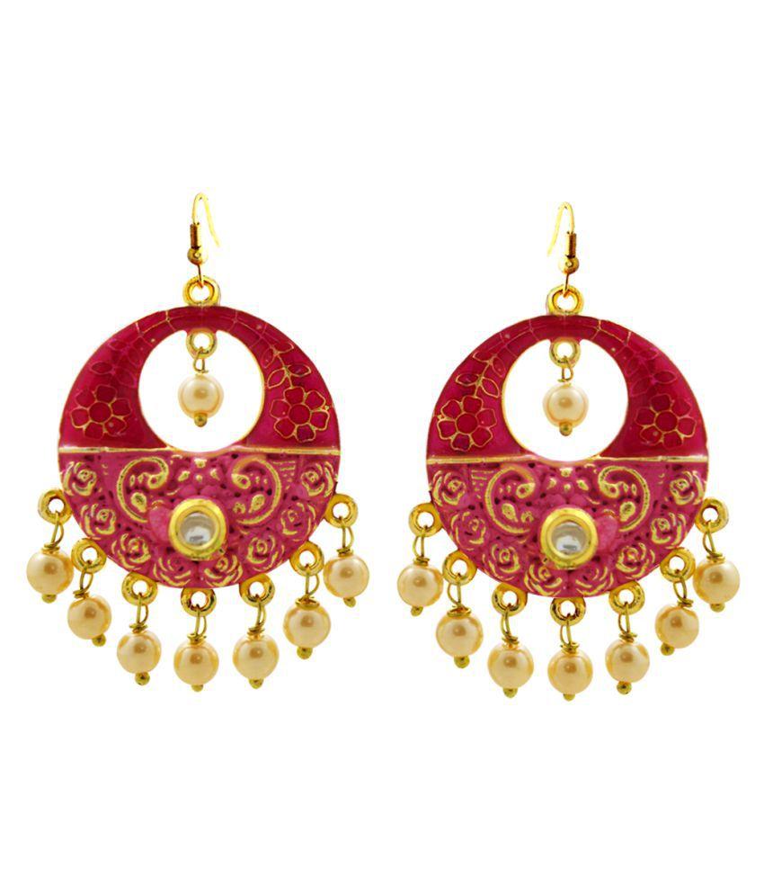 MK Jewellers Meenakari Artistic Dual Tone Danglers Red Pink