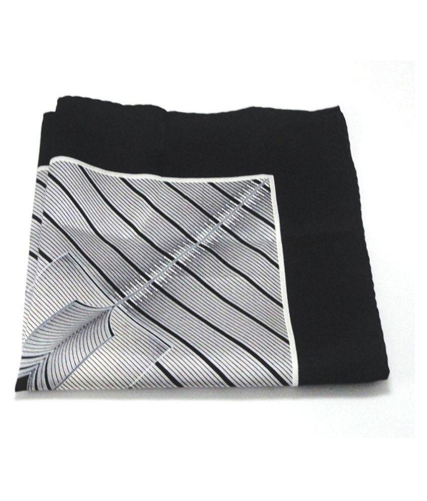 Voici France Grey Black Pocket Square, Microfiber, small size
