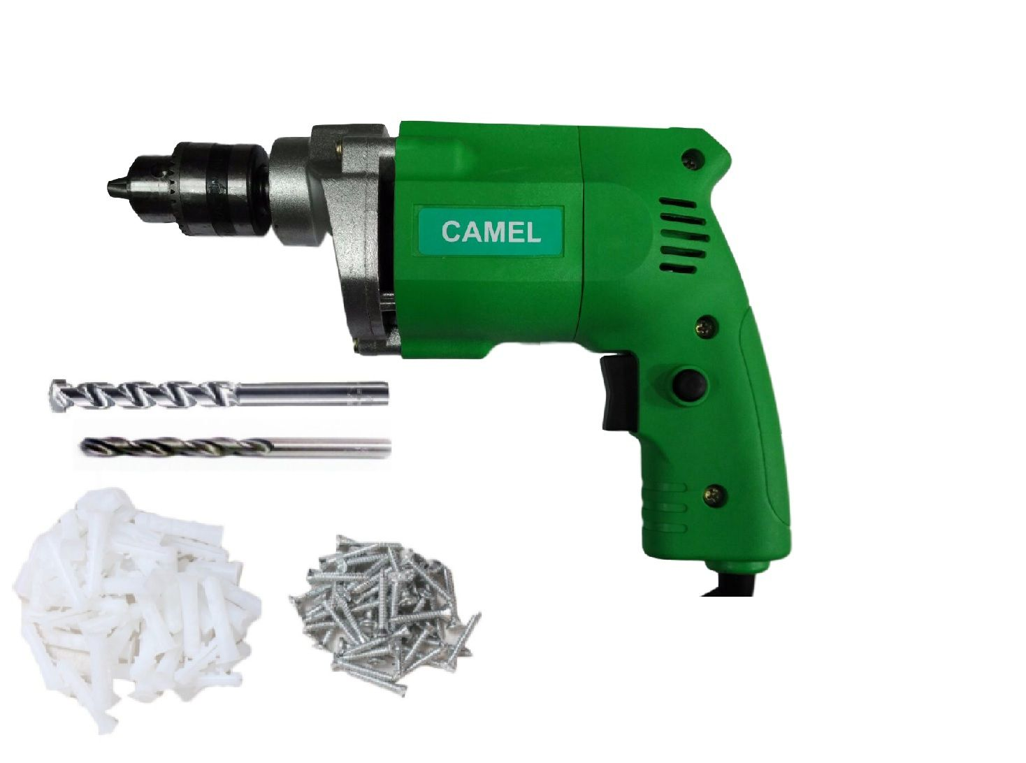 Camel 350W 10mm Corded Drill Machine with 2 High Quality Drill Bits + Fasteners (Pench & Gitti)