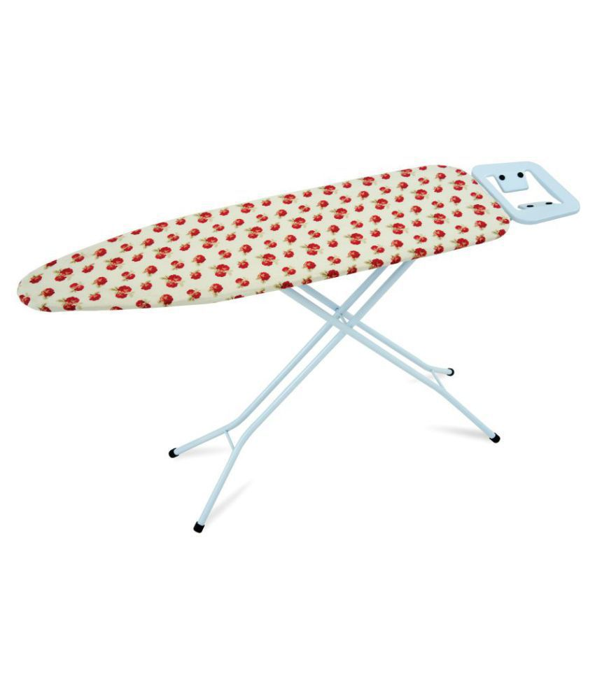 Foldable Ironing Board Table 110 x 33 cm Emperor Iron Stand (Red Floral Print Design) With Iron Stand - Eurostar