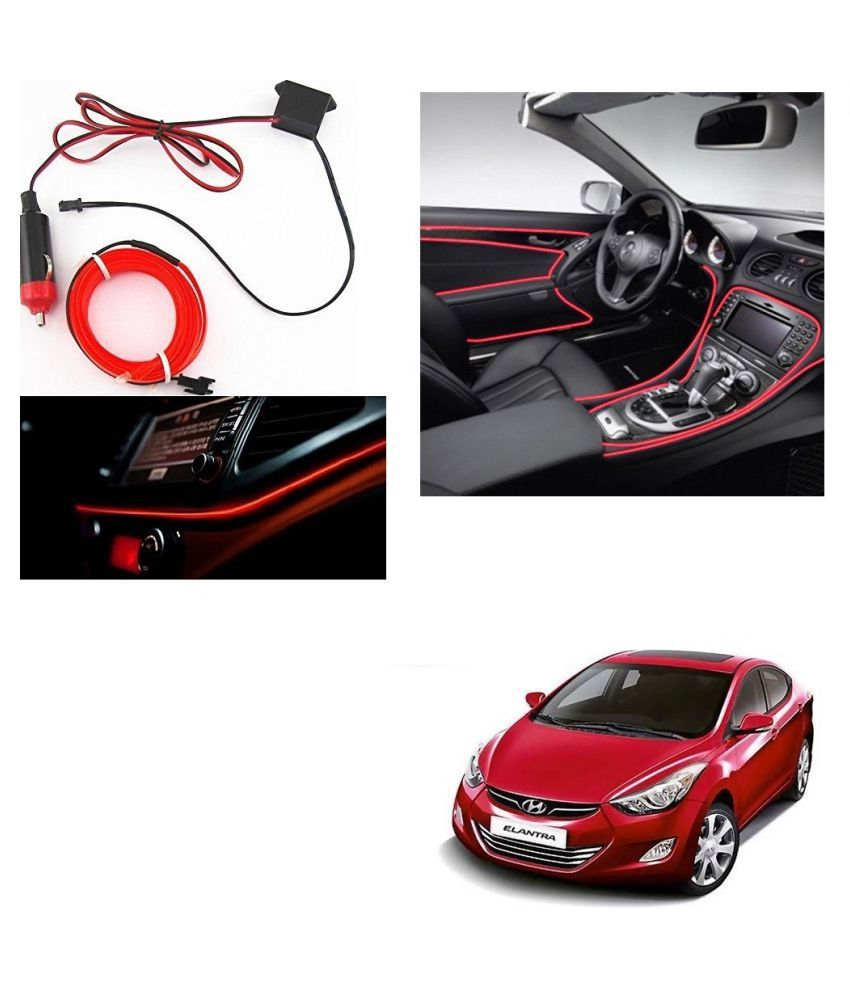 Auto Addict Red Color 12V 5Mtrs Roll Cold Light Car Socket Strip Neon Lamp Creator Decor Dashboard Interior Lighting For Hyundai Elantra