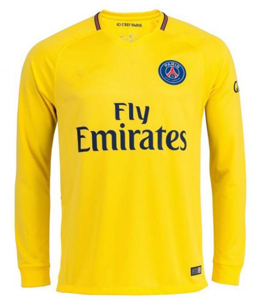 new style 46a78 8ea3d Fc Paris Saint-Germain(PSG) full sleeve yollow colour polyester drifit away  18/19 latest jersey