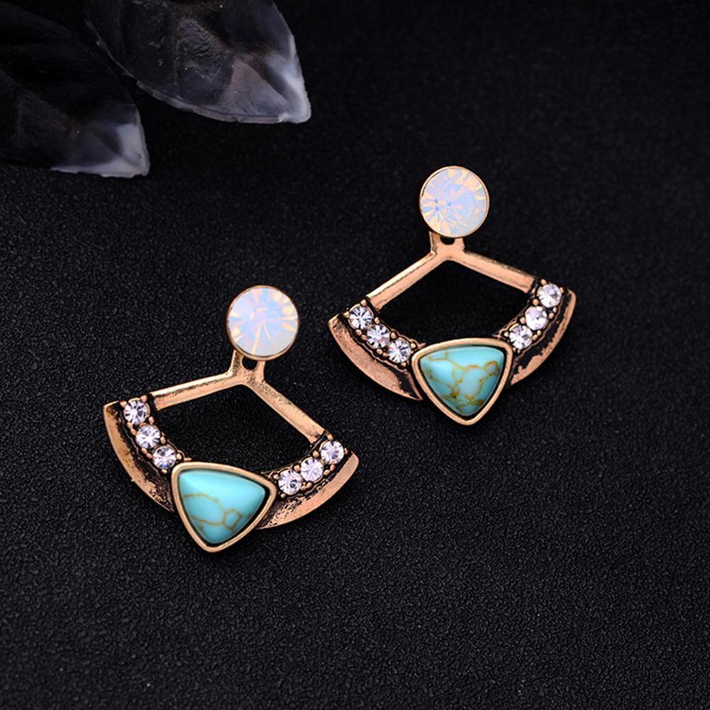 Women Chic Turquoise Rhinestone Fan Shape Front Back Ear Jacket Stud Earrings Fashion Jewellery