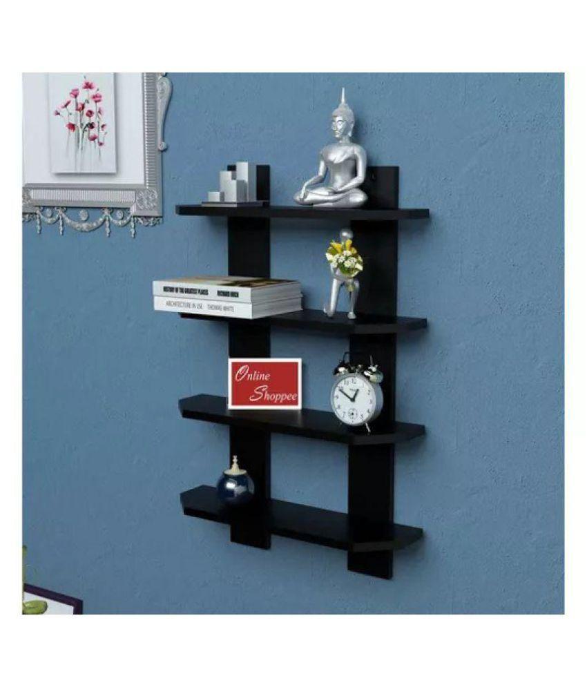 Onlineshoppee Floating MDF 4 Shelf Ladder Shape Wall Shelves - Black
