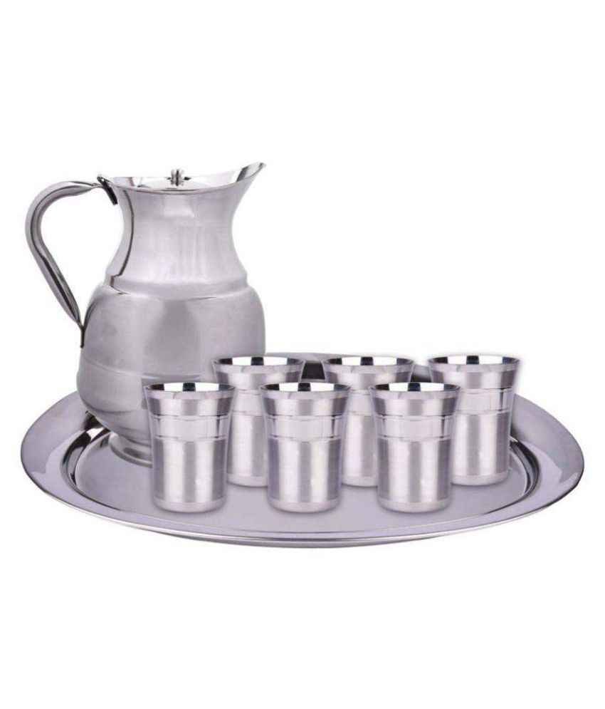 HAZZLEWOOD 6 glass,1 tray,1water jug Stainless Steel Dinner Set of 8 Pieces