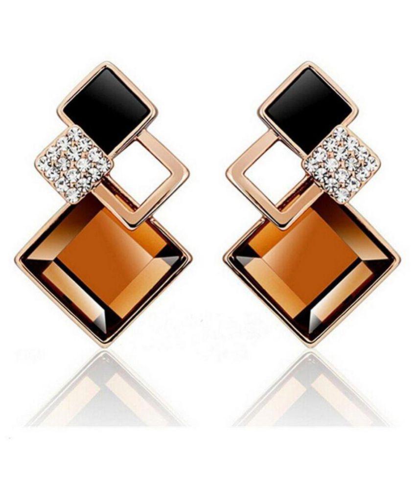 Fashionista Purple Crystal Earrings For Women  amp; Girls
