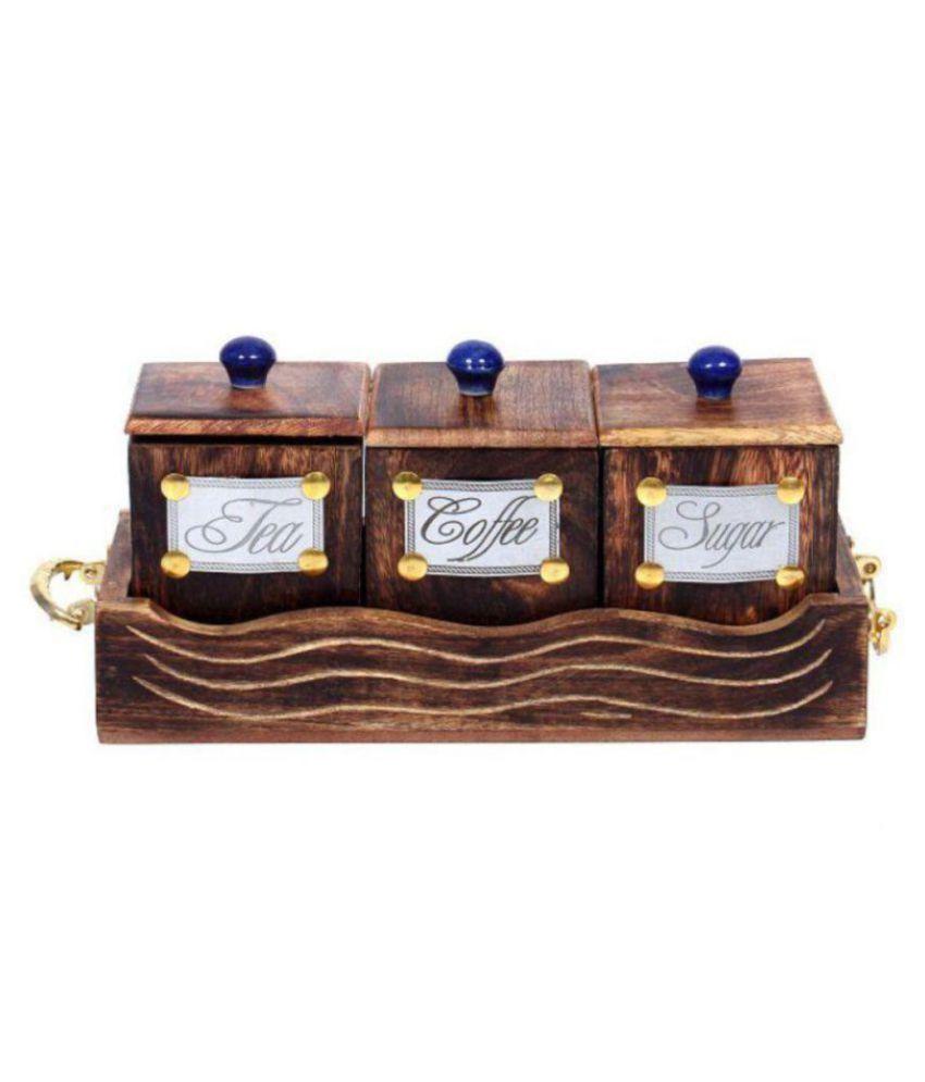 woodcart H@ndmade Wooden Handicraft Hand Made Container Set Wooden Tea/Coffee/Sugar Container Set of 1