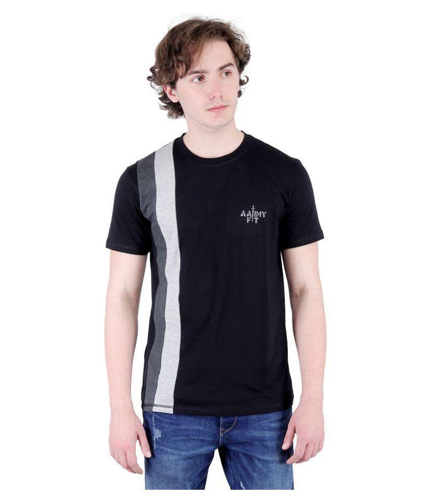 AARMY Black Half Sleeve T-Shirt Pack of 1