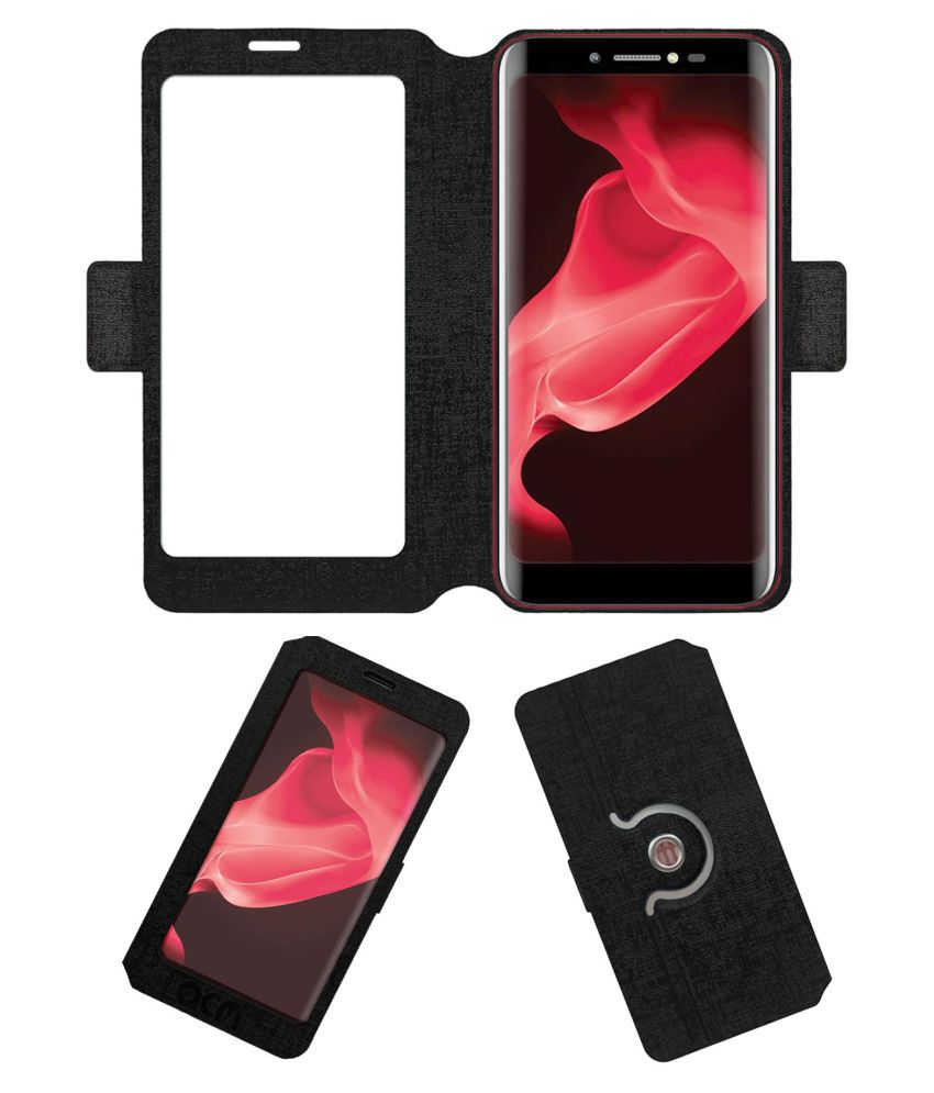 Micromax Bharat 5 Infinity Edition Flip Cover by ACM - Black Dual Side Stand