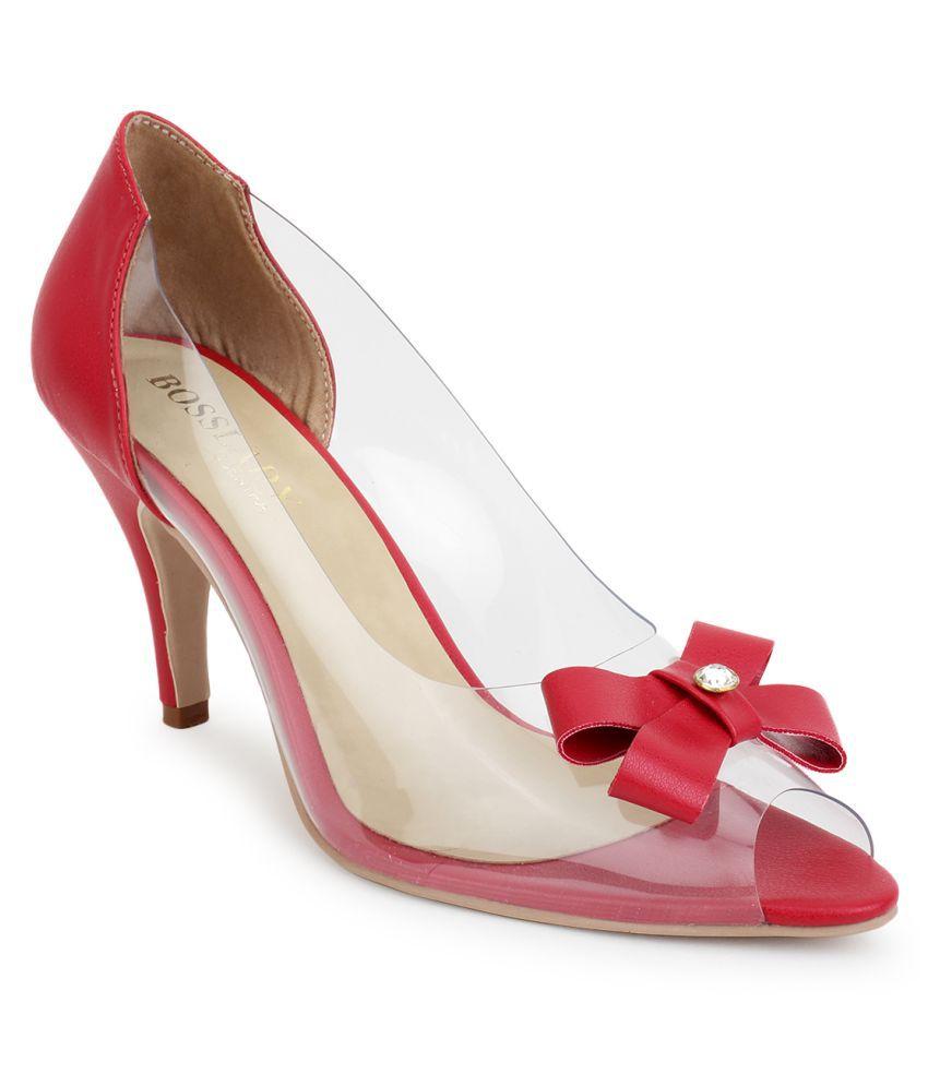 Scentra Red Block Heels