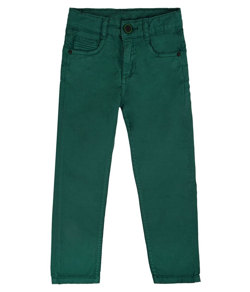 Tales & Stories Boys Light Green Slim Fit Cotton Trouser