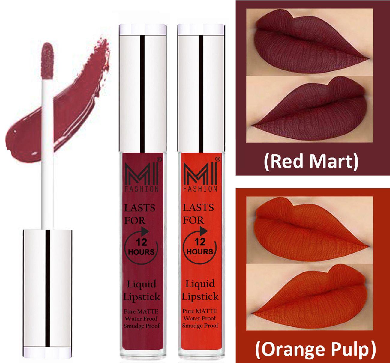 MI FASHION Liquid Lipstick Red Mart,Orange Pulp 3 ml Pack of 2