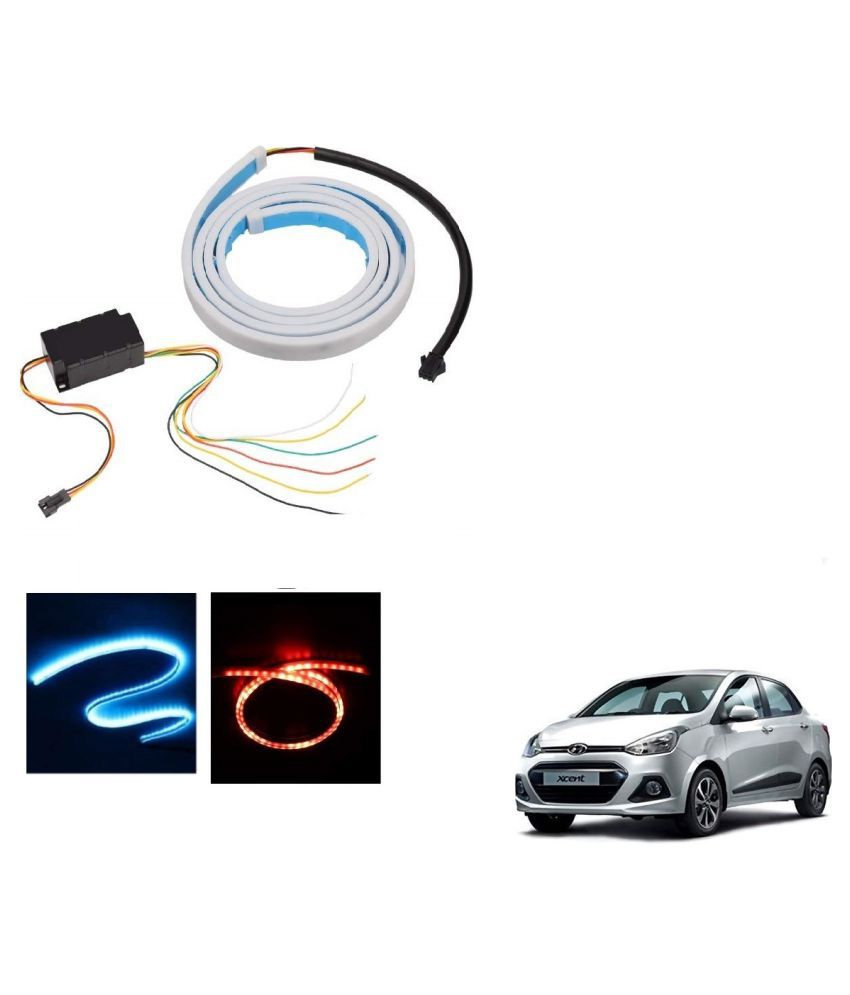 Auto Addict LED Dicky Light Ice Blue & Red DRL Brake with Side Turn Signal & Parking Indication Dicky, Trunk, Boot Strip Light For Hyundai Xcent