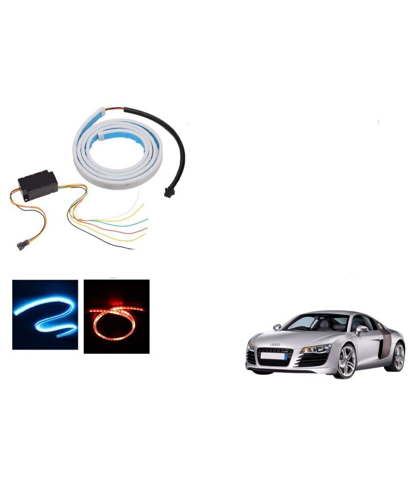Auto Addict LED Dicky Light Ice Blue & Red DRL Brake with Side Turn Signal & Parking Indication Dicky, Trunk, Boot Strip Light For Audi R8