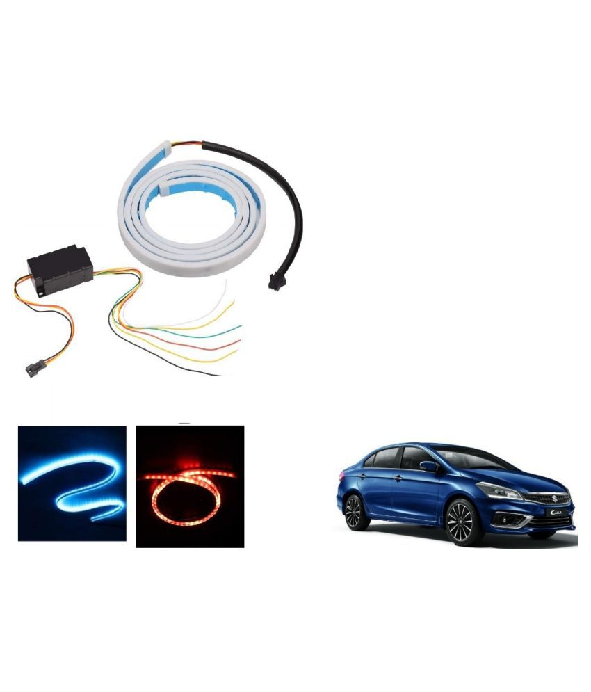 Auto Addict LED Dicky Light Ice Blue & Red DRL Brake with Side Turn Signal & Parking Indication Dicky, Trunk, Boot Strip Light For Maruti Suzuki Ciaz Facelift