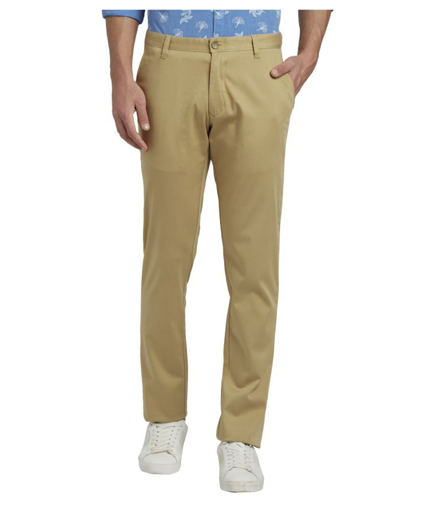 Parx Khaki Slim -Fit Flat Trousers