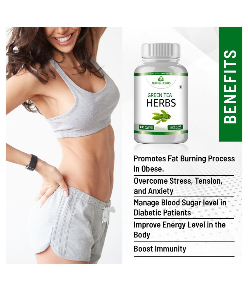 Nutriherbs Green Tea Capsules Pure Green Tea Extract Max Potency Green Tea  Fat Burner Supplement For Weight Management- 60 500 mg Unfalvoured