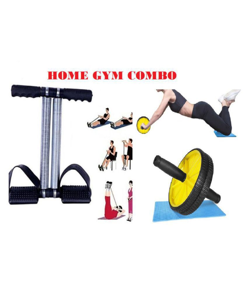 Ab Wheel Roller & Tummy Trimmer Combo Abs Abdominal Home Gym Exercise Equipment for Body Workout Men & Women