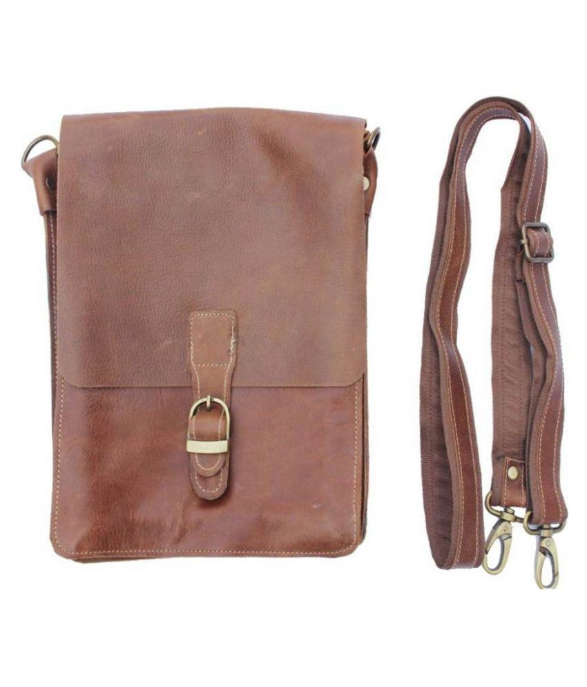 Innovegic Traders Brown Leather Casual Messenger Bag