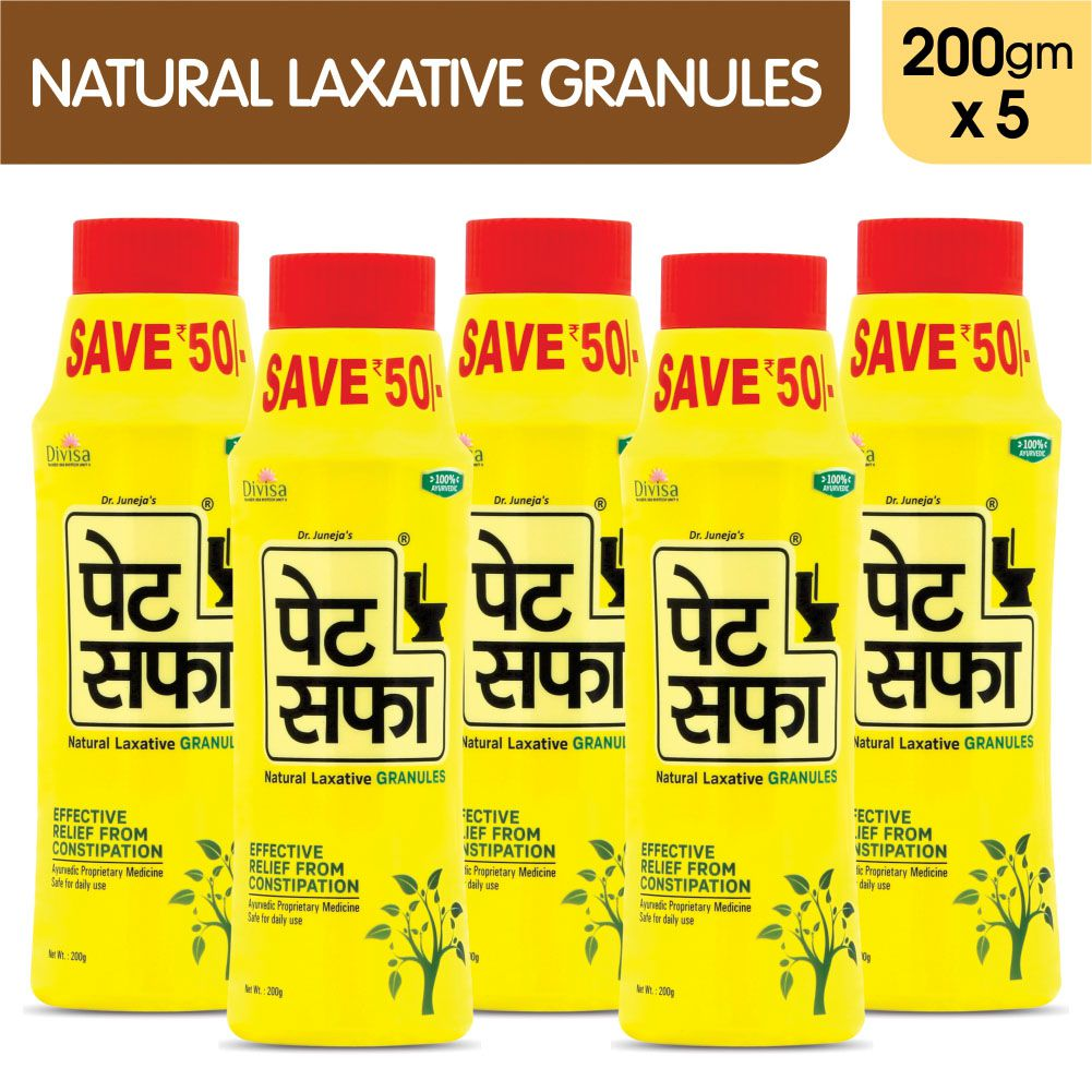 Pet Saffa Natural Laxative Granules 200gm, Pack of 5 (Helpful in Constipation, Gas, Acidity, Kabz), Ayurvedic Medicine