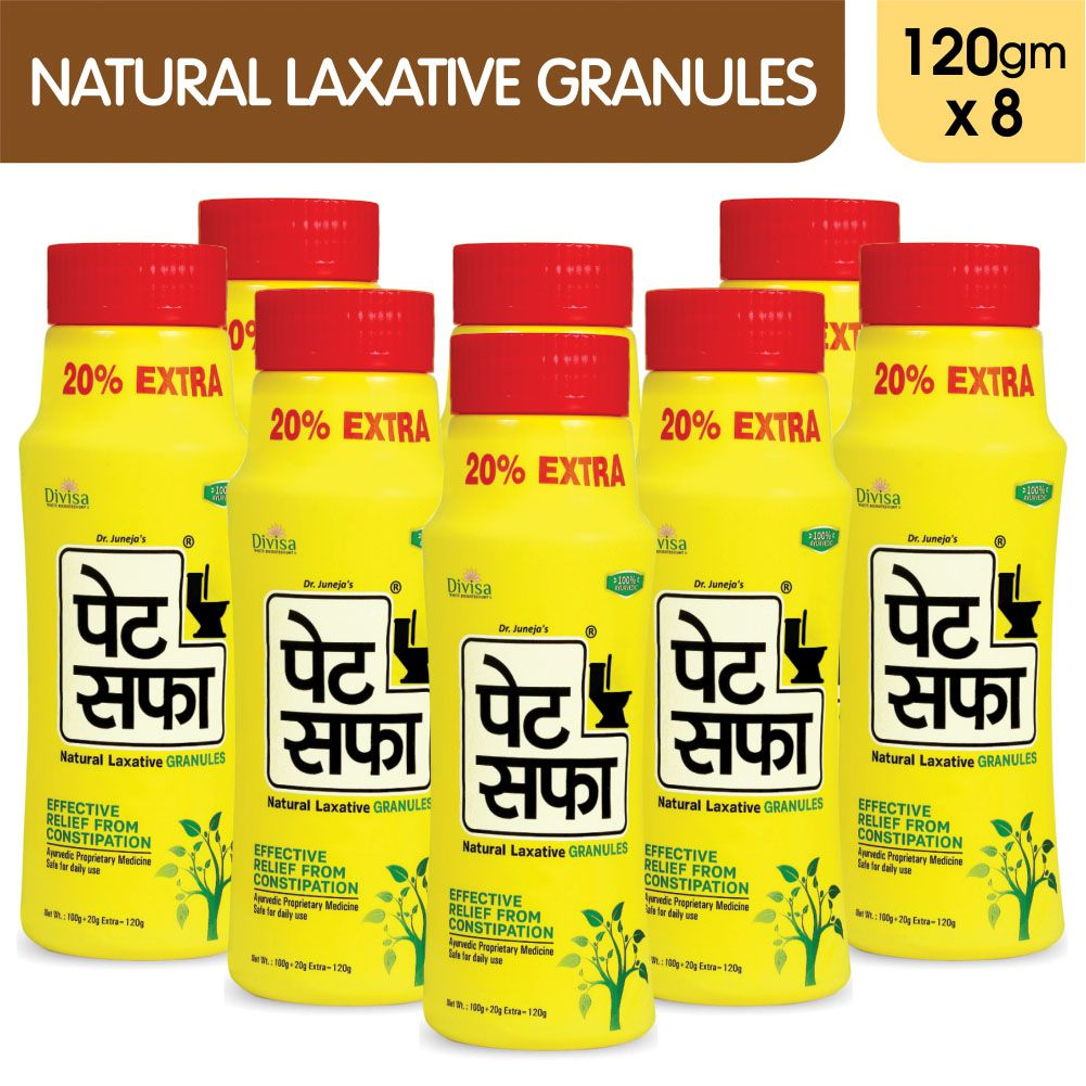 Pet Saffa Natural Laxative Granules 120gm, Pack of 8 (Helpful in Constipation, Gas, Acidity, Kabz), Ayurvedic Medicine