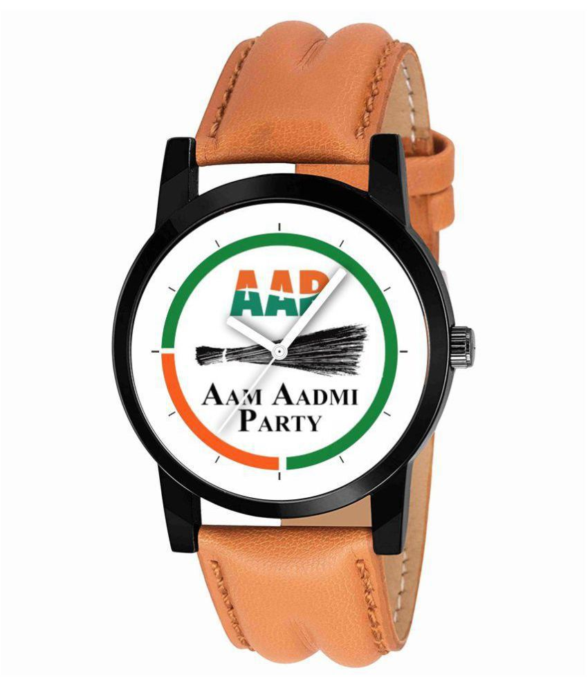 Partem PA121M AAM AADMI PARTY LATEST Leather Analog Men's Watch