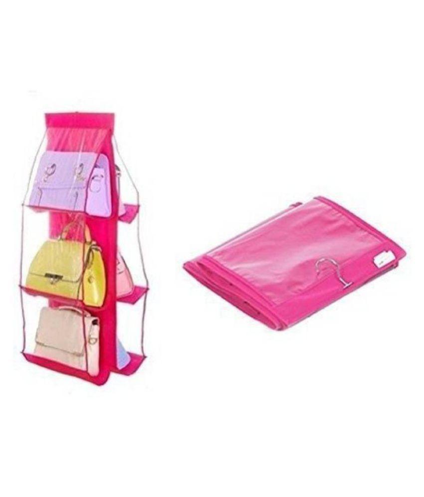 Everbuy Fabric 6-Pocket Hanging Storage Rack for Handbag, Pink, 90x35x35cm