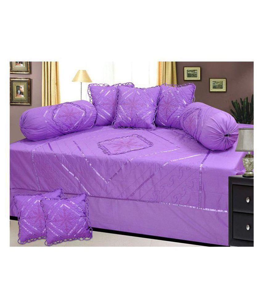 HomeStore-YEP Cotton Purple Embroidery Diwan Set 8 Pcs
