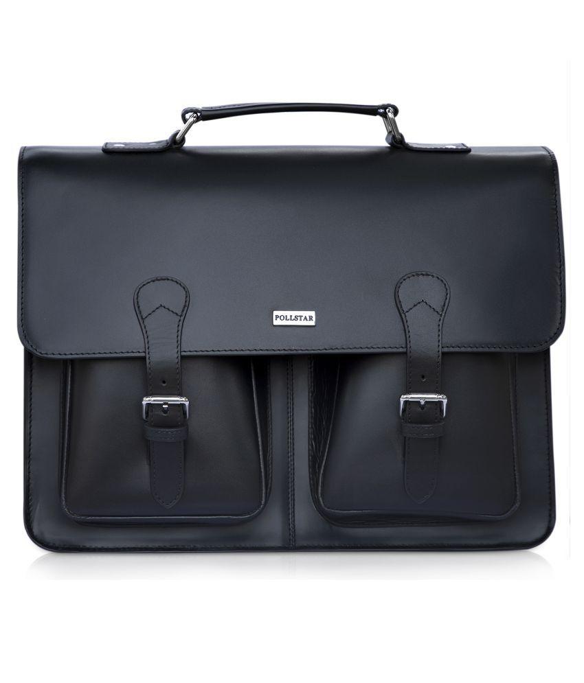 POLLSTAR MB9995BK Black Leather Office Messenger Bag