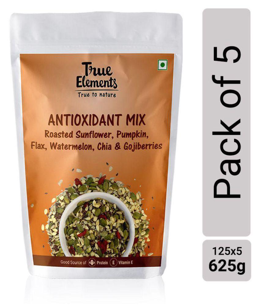 True Elements Antioxidant Mix Roasted Sunflower Pumpkin Flax Watermelon Chia Seeds And Goji Berries 125g each Pack of 5