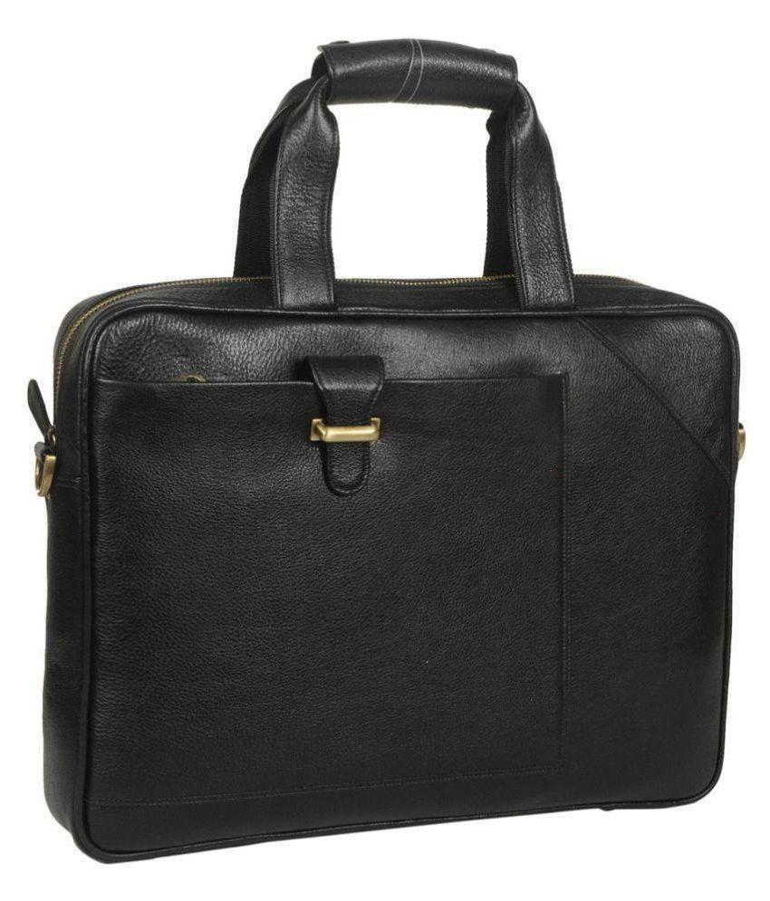 C Comfort Black Leather Casual Messenger Bag