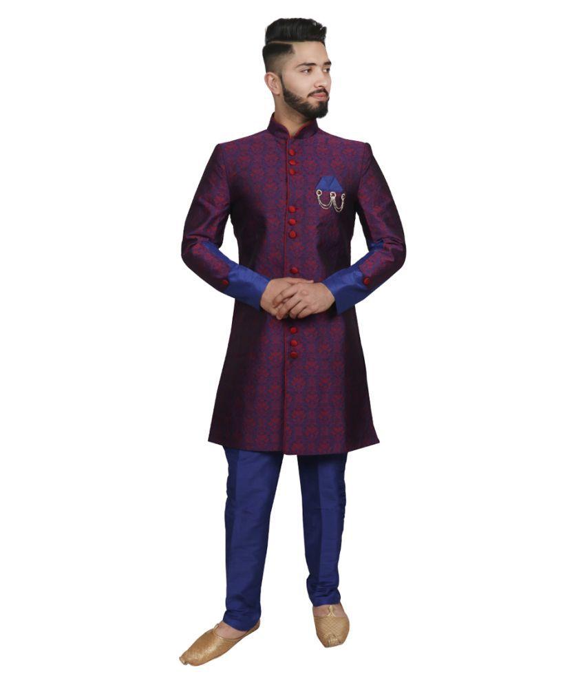 SG RAJASAHAB Blue Polyester Blend Sherwani