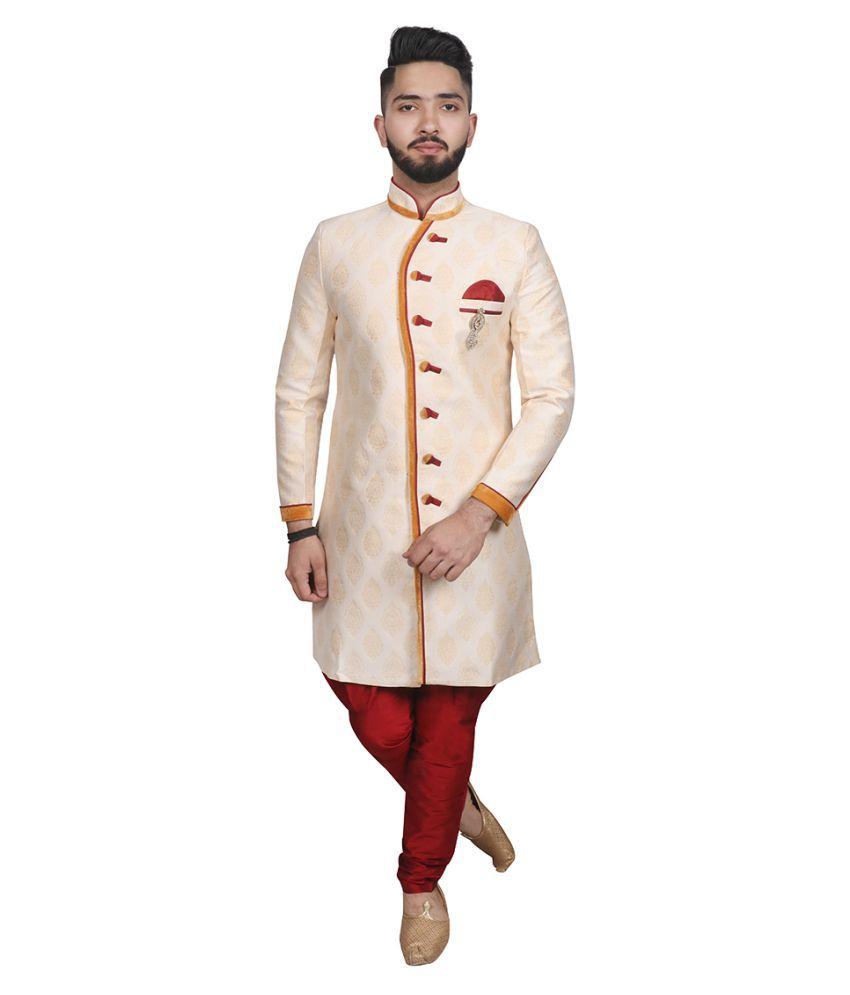 SG RAJASAHAB Gold Polyester Blend Sherwani