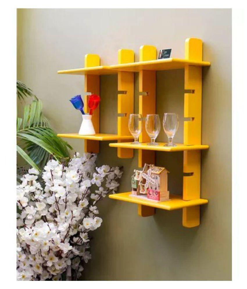 Onlineshoppee Escalera Wall Shelf 2 Pcs Yellow