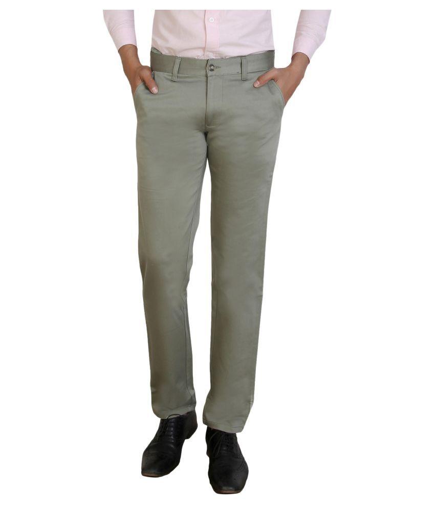 Pecos Bill Grey Slim -Fit Flat Trousers