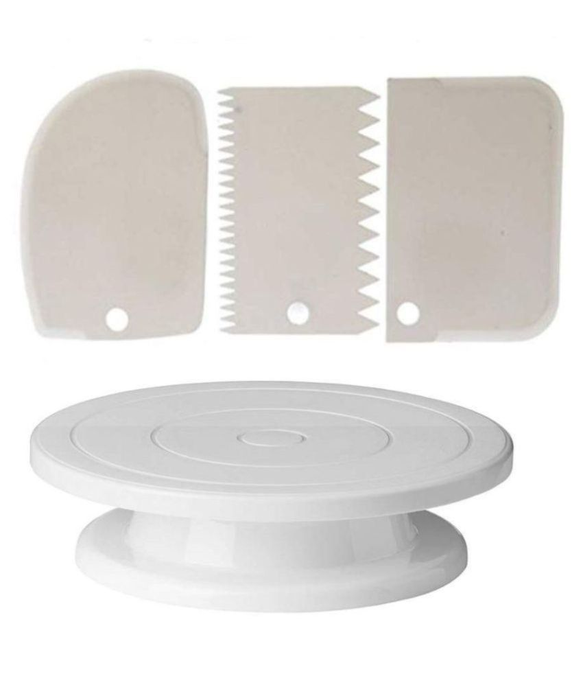 Perfect Pricee Combo Set of Plastic Revolving Turn Table Cake Stand with 3 Cake Decorating Icing Scrapper , White