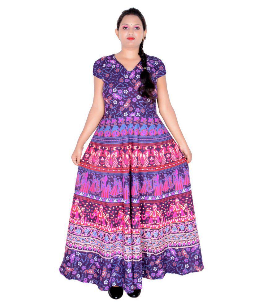 Sttoffa Cotton Purple Fit And Flare Dress