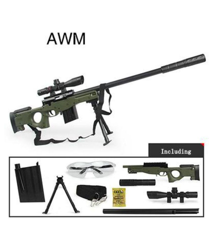 Little Rock PUBG Final battle AWM Water Crystal Jelly Balls 85cm Air Sniper  Rifle Toy Gun With 8x Micro Mirror Telescope ( uniform not included )